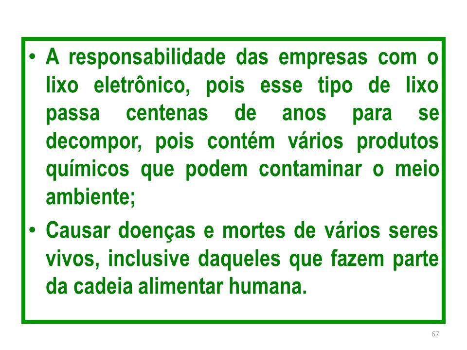 A responsabilidade das empresas com o lixo eletrônico, pois esse tipo de lixo passa centenas de anos para se decompor, pois contém vários produtos químicos que podem contaminar o meio ambiente;