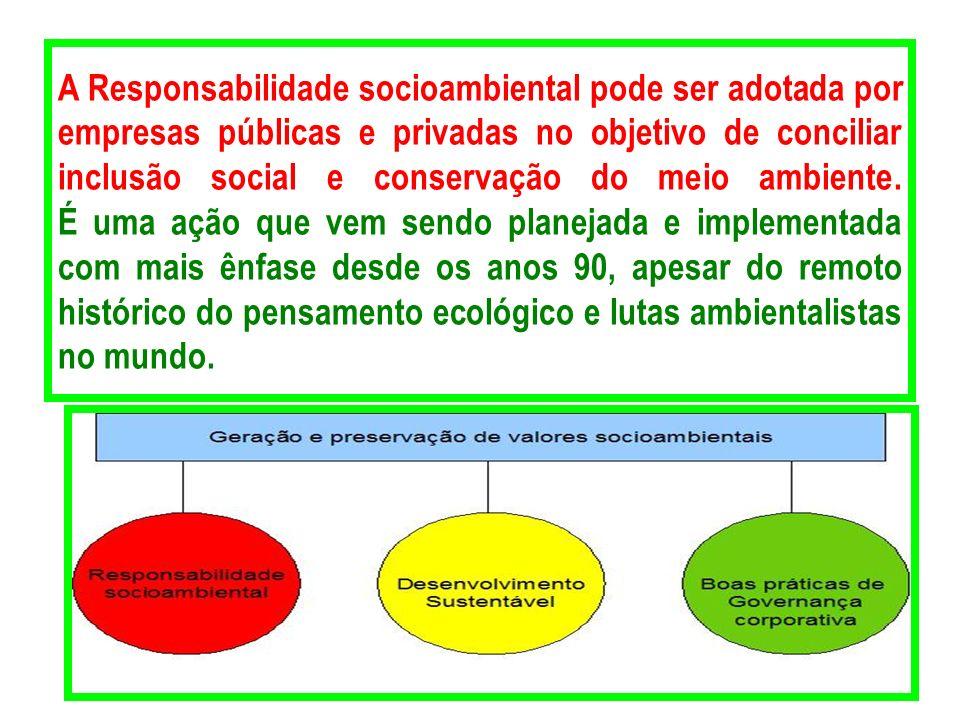 A Responsabilidade socioambiental pode ser adotada por empresas públicas e privadas no objetivo de conciliar inclusão social e conservação do meio ambiente.