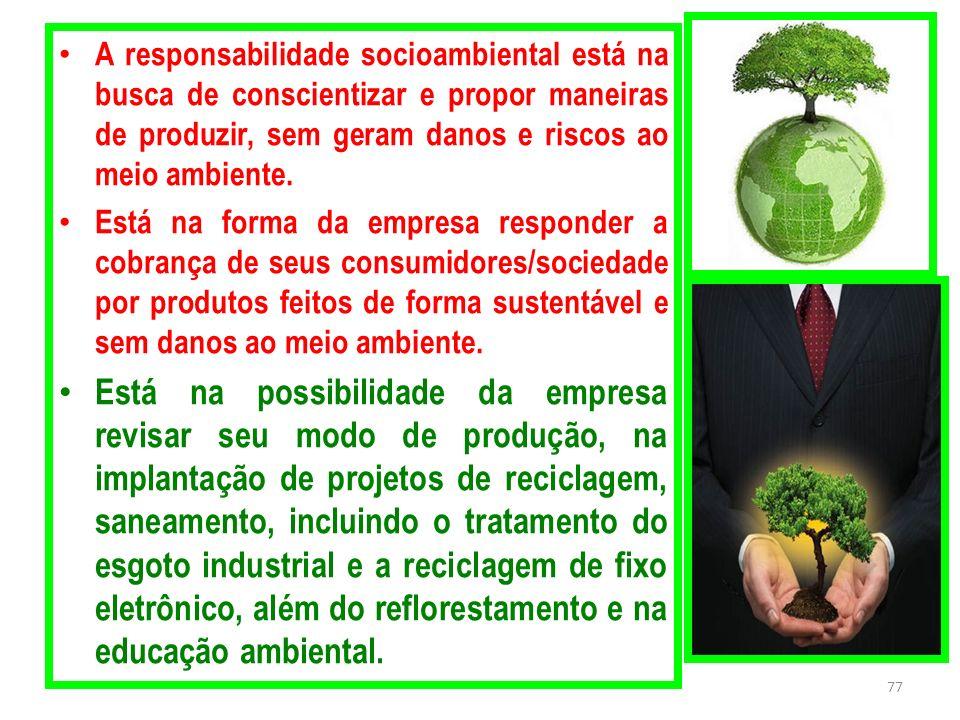 A responsabilidade socioambiental está na busca de conscientizar e propor maneiras de produzir, sem geram danos e riscos ao meio ambiente.