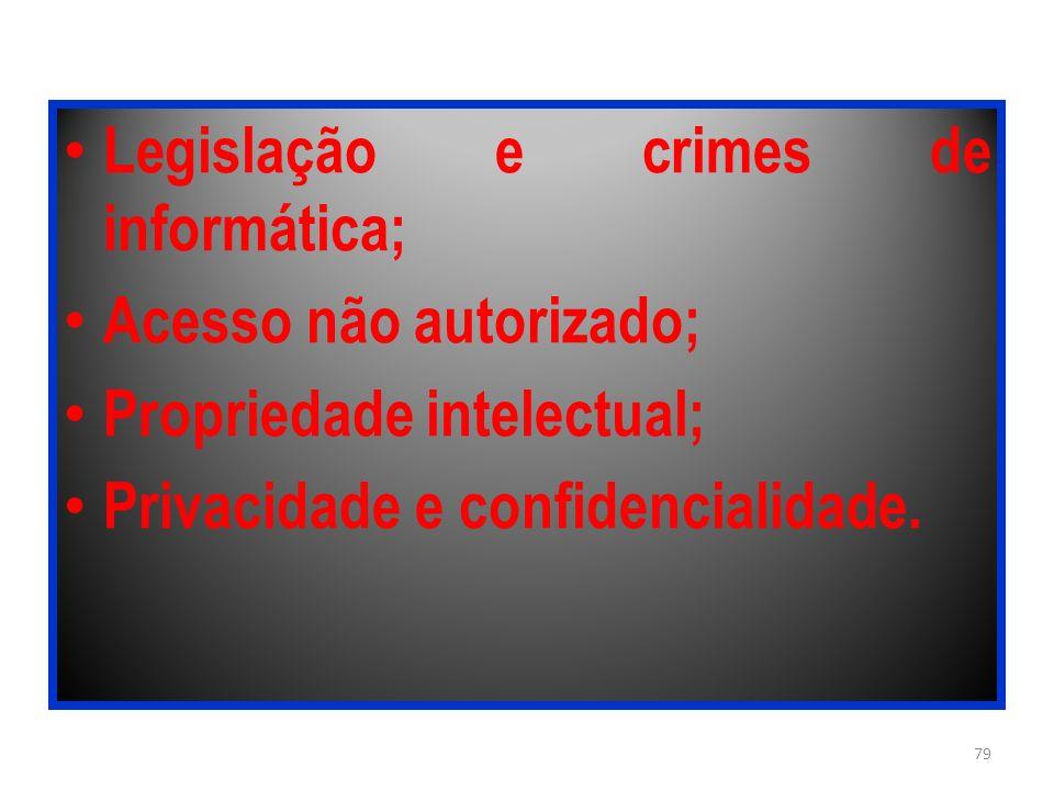 Legislação e crimes de informática;
