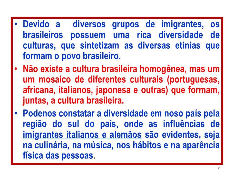 Devido a diversos grupos de imigrantes, os brasileiros possuem uma rica diversidade de culturas, que sintetizam as diversas etinias que formam o povo brasileiro.
