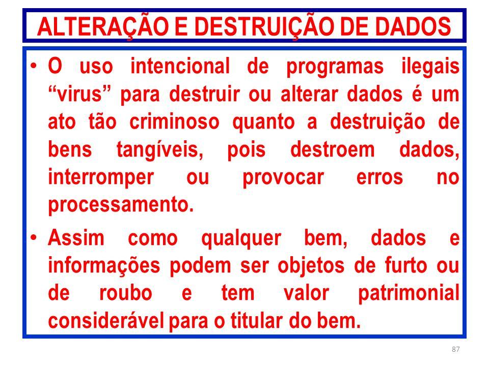 ALTERAÇÃO E DESTRUIÇÃO DE DADOS