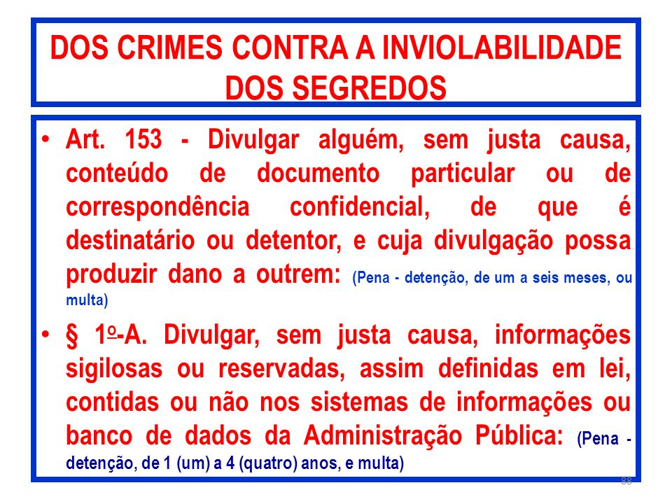 DOS CRIMES CONTRA A INVIOLABILIDADE DOS SEGREDOS