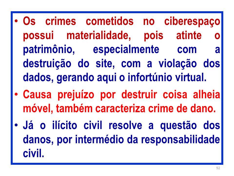 Os crimes cometidos no ciberespaço possui materialidade, pois atinte o patrimônio, especialmente com a destruição do site, com a violação dos dados, gerando aqui o infortúnio virtual.