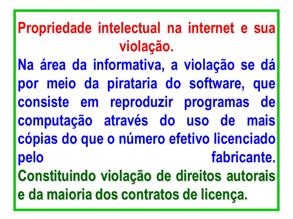 Propriedade intelectual na internet e sua violação