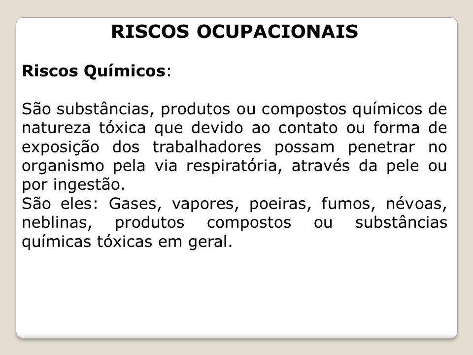 RISCOS OCUPACIONAIS Riscos Químicos: