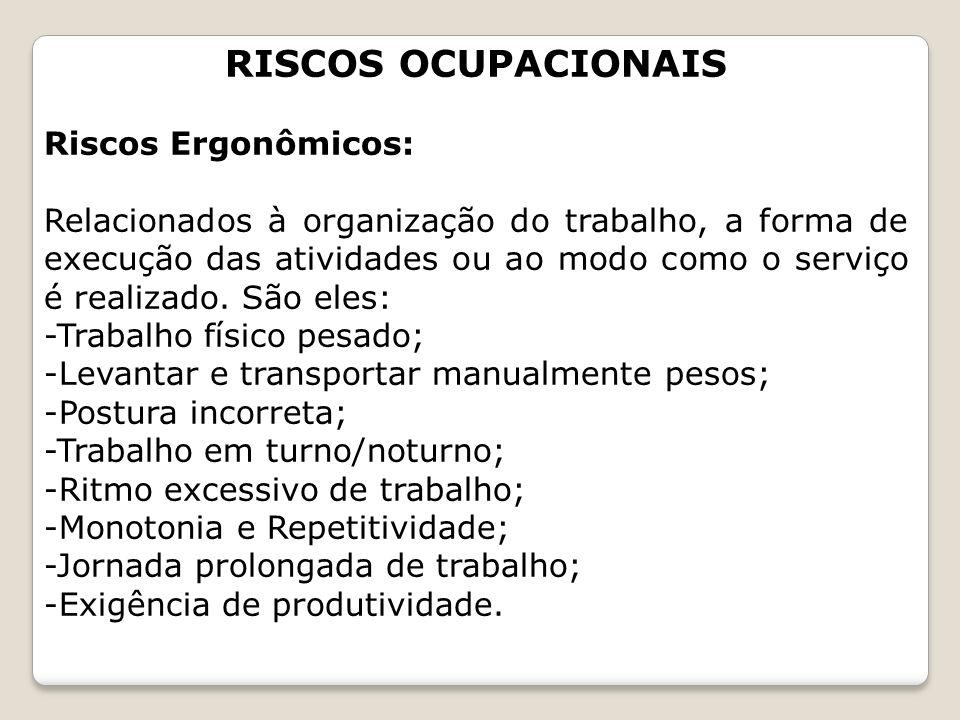 RISCOS OCUPACIONAIS Riscos Ergonômicos: