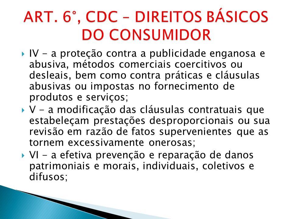 ART. 6°, CDC – DIREITOS BÁSICOS DO CONSUMIDOR