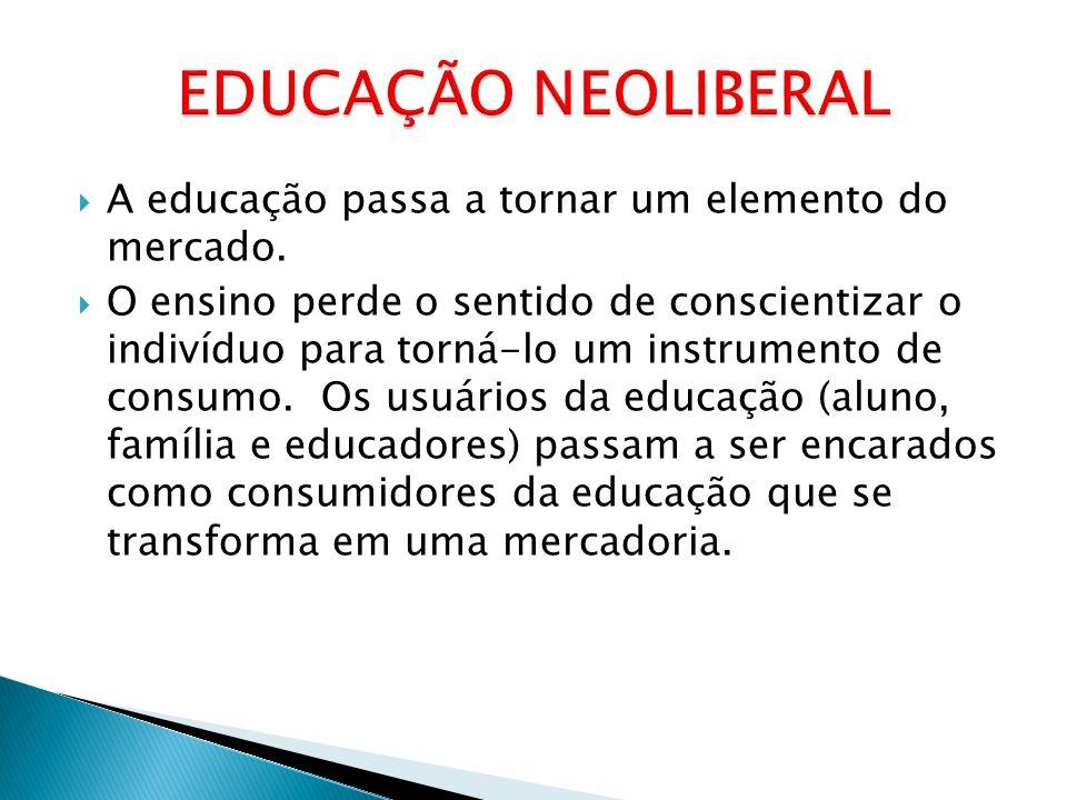 EDUCAÇÃO NEOLIBERAL A educação passa a tornar um elemento do mercado.