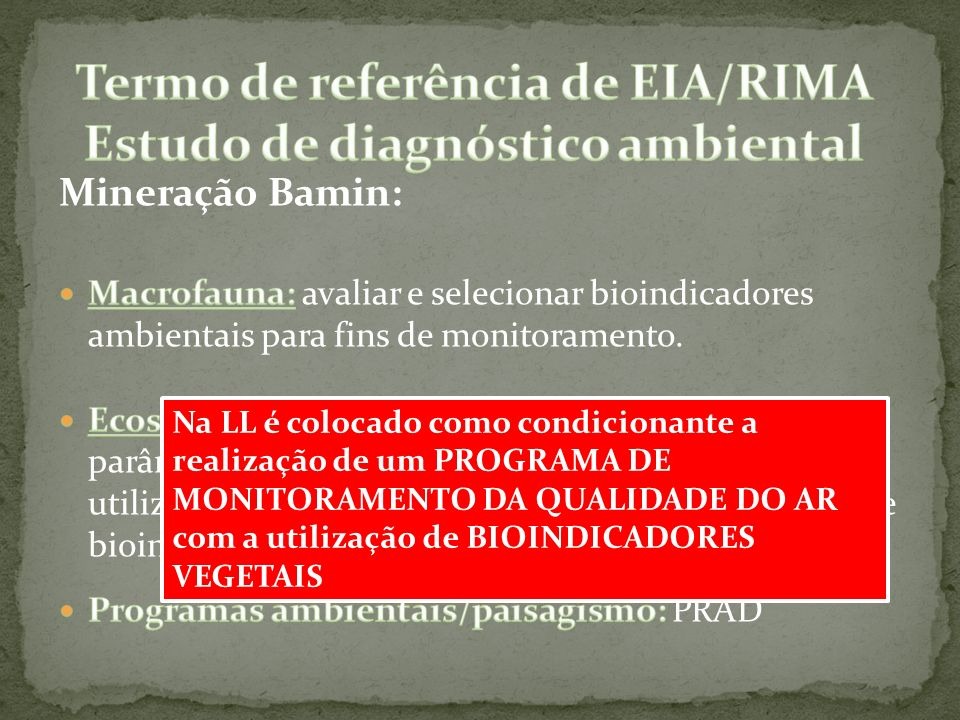 Termo de referência de EIA/RIMA Estudo de diagnóstico ambiental