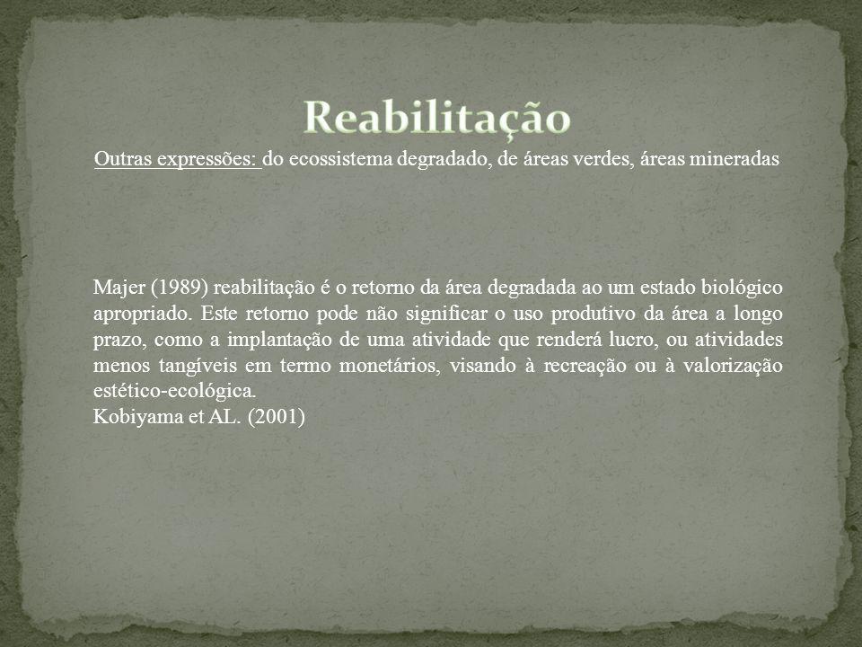 Reabilitação Outras expressões: do ecossistema degradado, de áreas verdes, áreas mineradas.