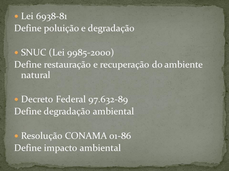 Lei 6938-81 Define poluição e degradação. SNUC (Lei 9985-2000) Define restauração e recuperação do ambiente natural.