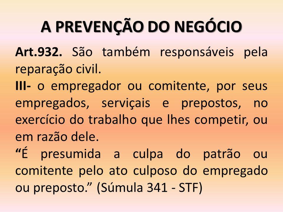 A PREVENÇÃO DO NEGÓCIO Art.932. São também responsáveis pela reparação civil.