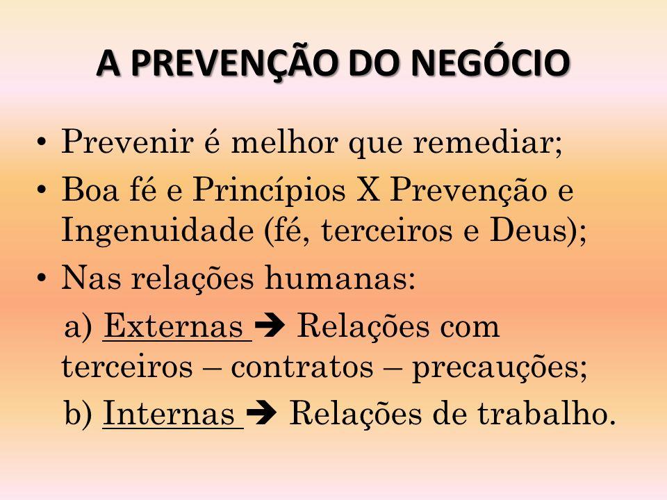 A PREVENÇÃO DO NEGÓCIO Prevenir é melhor que remediar;