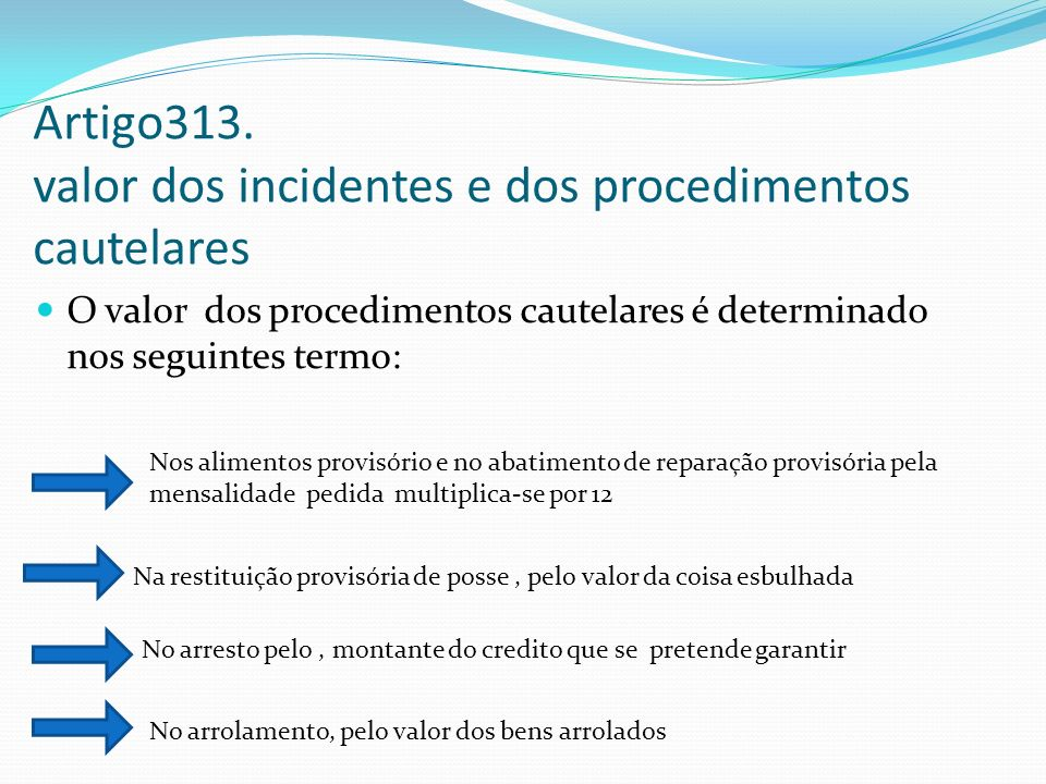 Artigo313. valor dos incidentes e dos procedimentos cautelares
