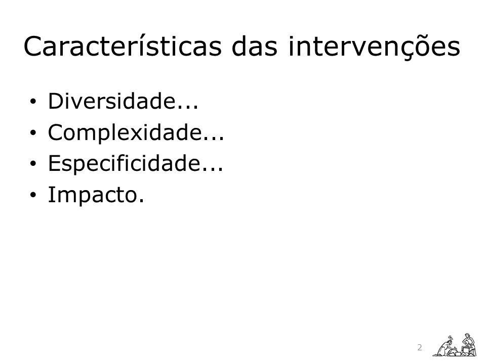 Características das intervenções