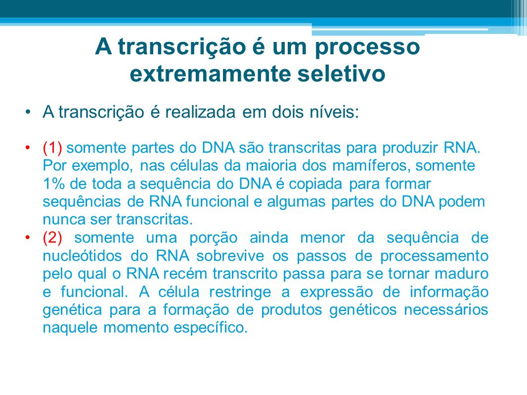 A transcrição é um processo extremamente seletivo