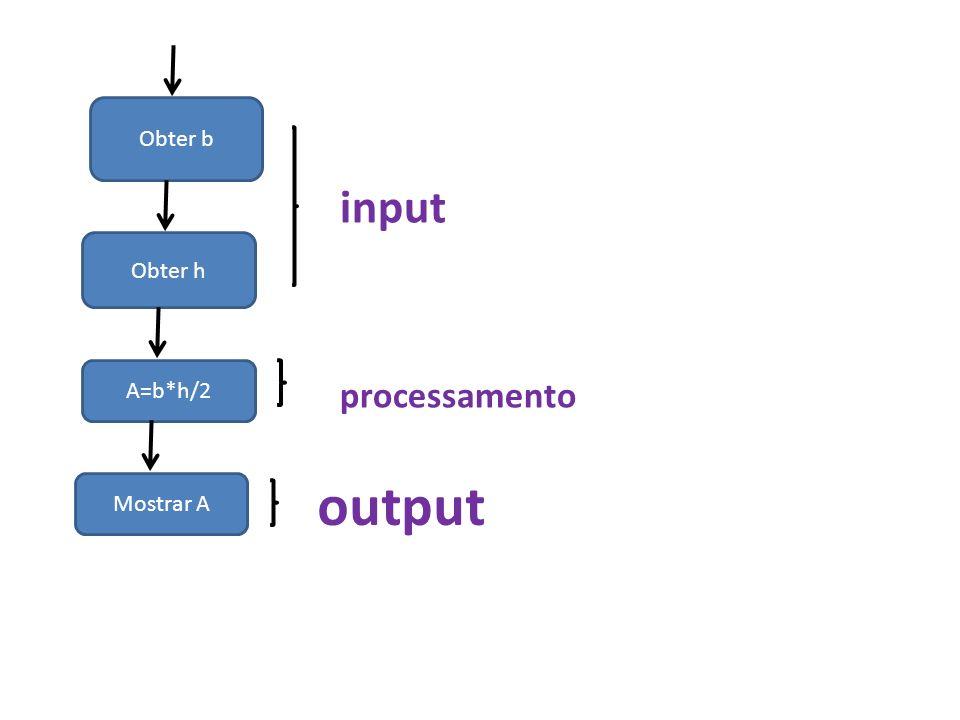 Obter b input Obter h A=b*h/2 processamento output Mostrar A