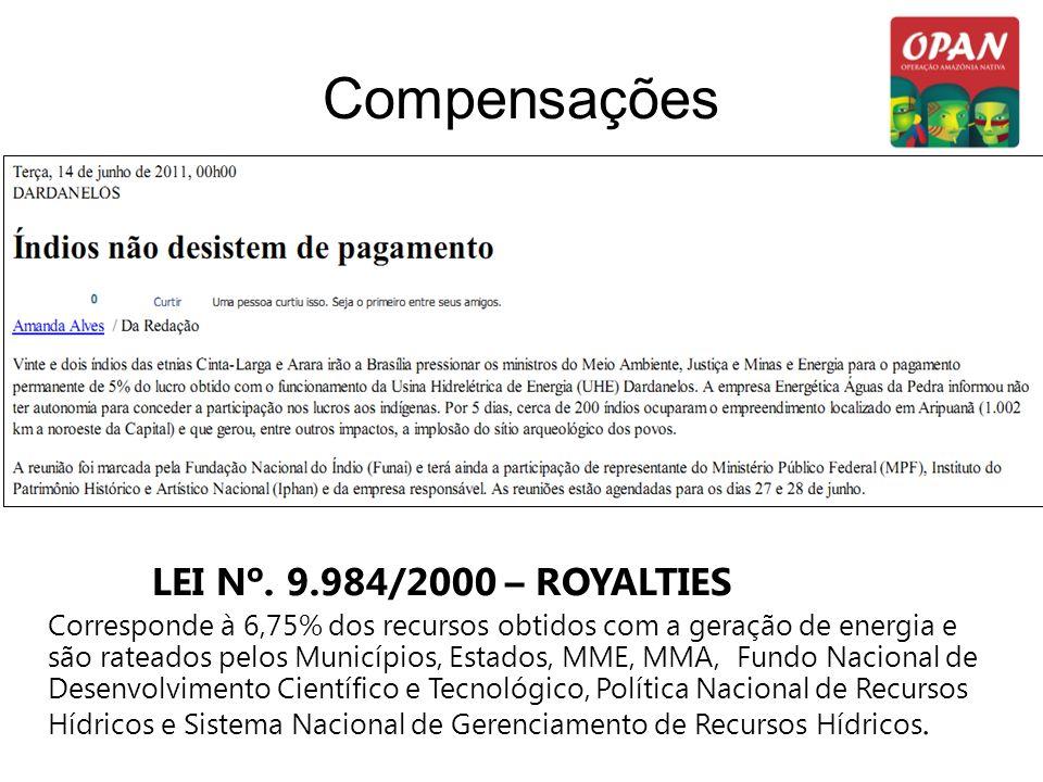 Compensações LEI Nº. 9.984/2000 – ROYALTIES