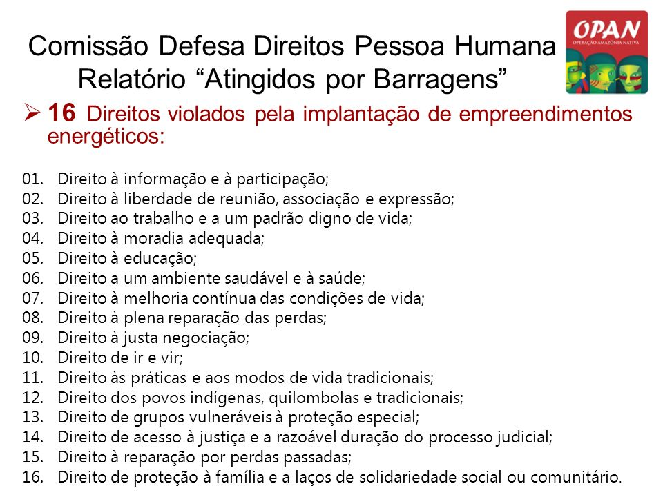 Comissão Defesa Direitos Pessoa Humana Relatório Atingidos por Barragens