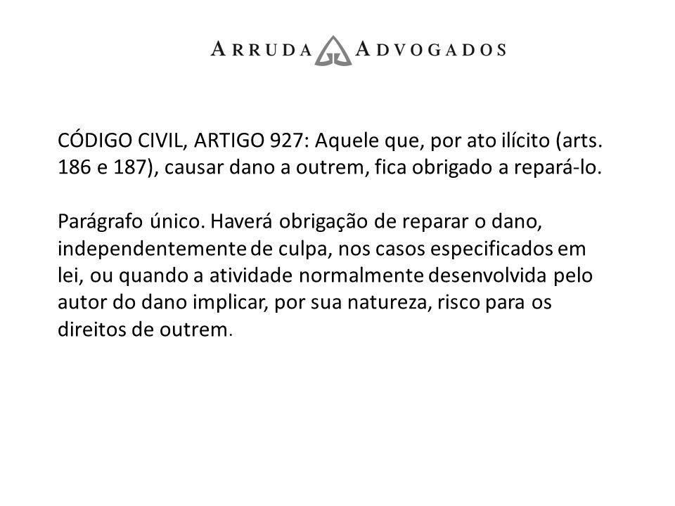 CÓDIGO CIVIL, ARTIGO 927: Aquele que, por ato ilícito (arts