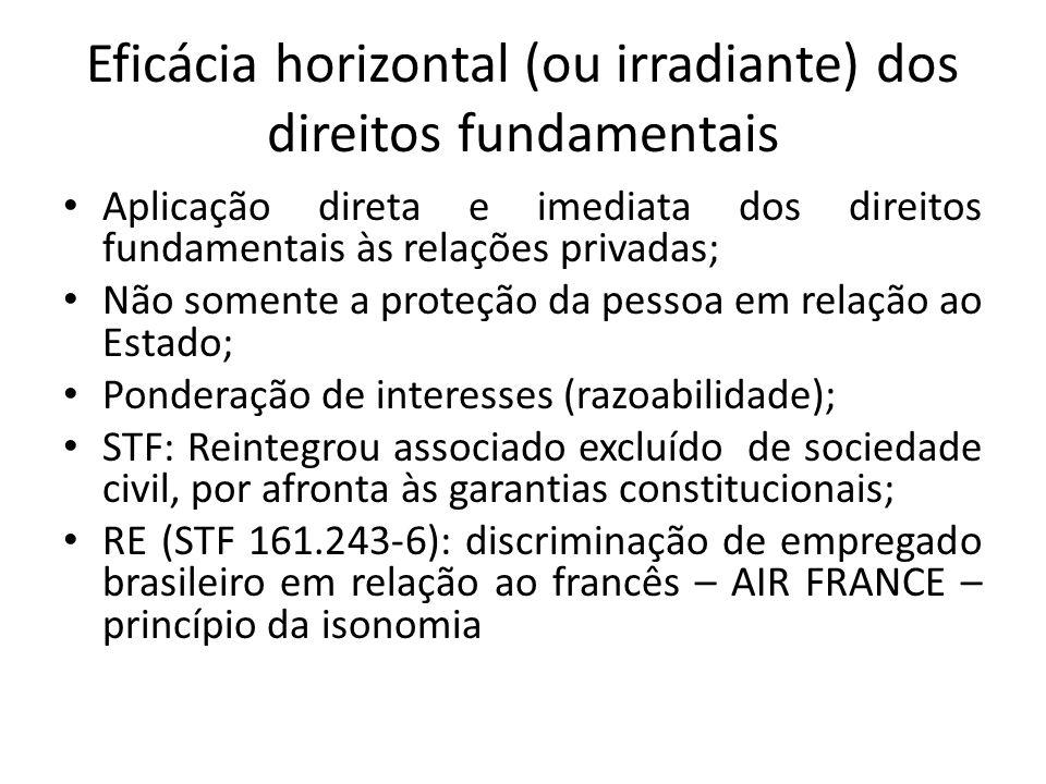 Eficácia horizontal (ou irradiante) dos direitos fundamentais