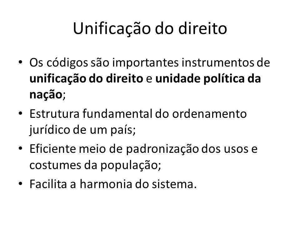 Unificação do direito Os códigos são importantes instrumentos de unificação do direito e unidade política da nação;