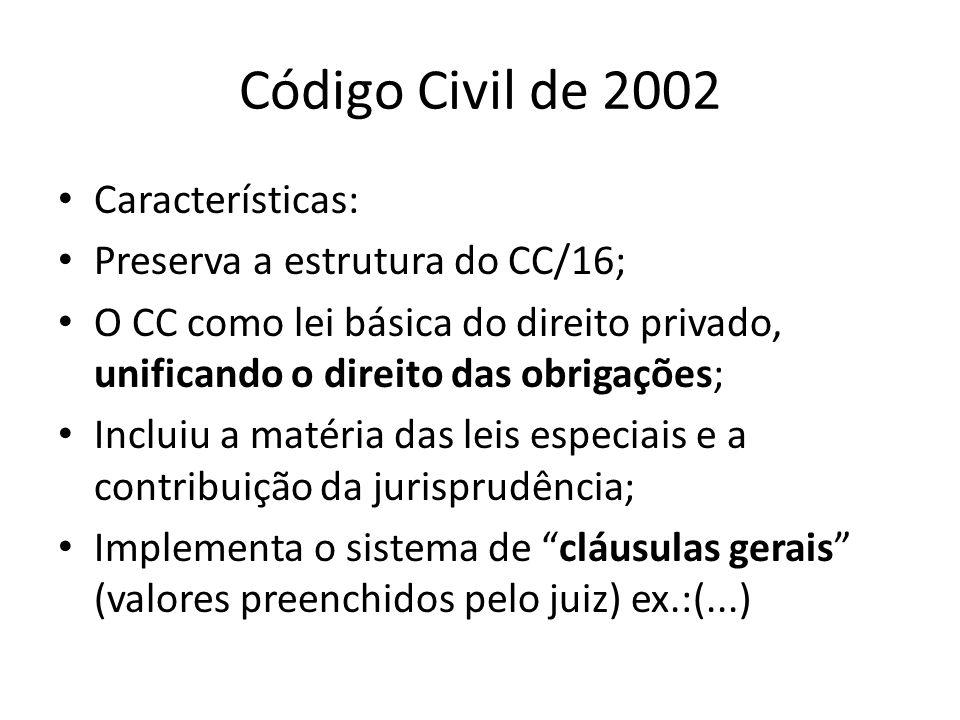 Código Civil de 2002 Características: Preserva a estrutura do CC/16;