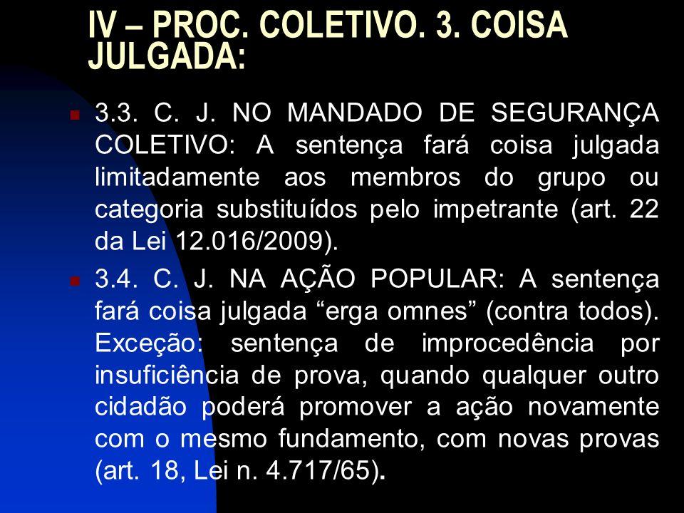 IV – PROC. COLETIVO. 3. COISA JULGADA: