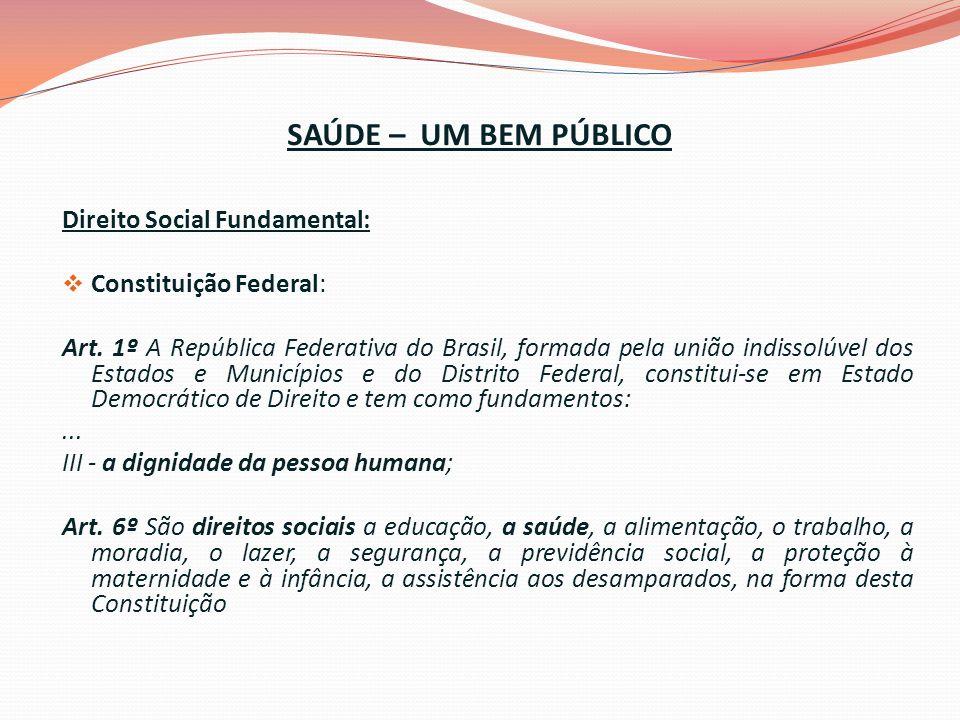 SAÚDE – UM BEM PÚBLICO Direito Social Fundamental:
