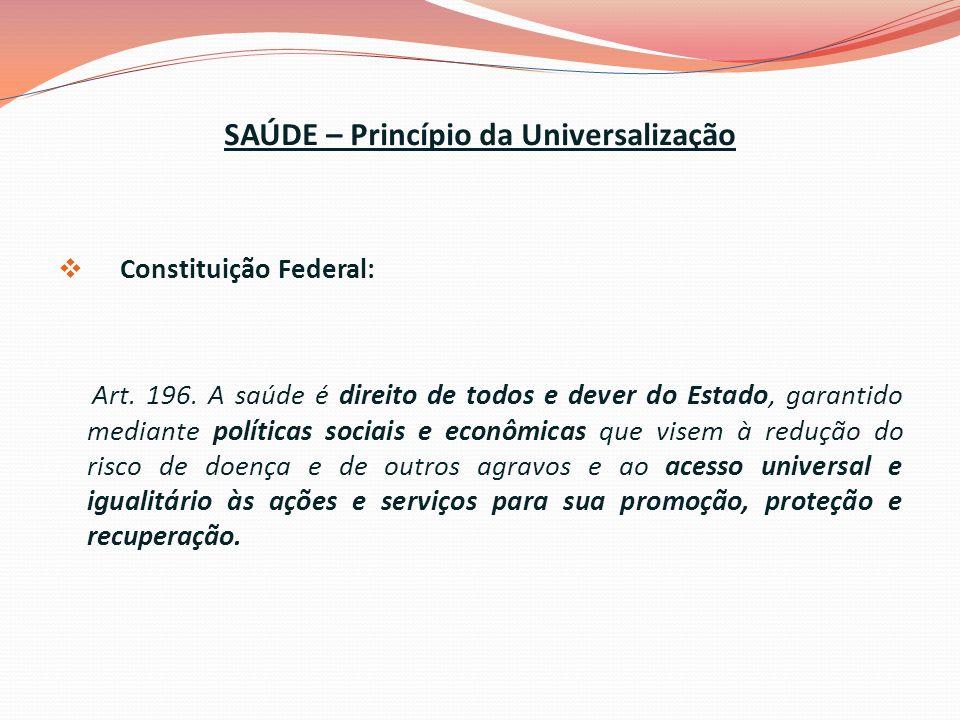 SAÚDE – Princípio da Universalização