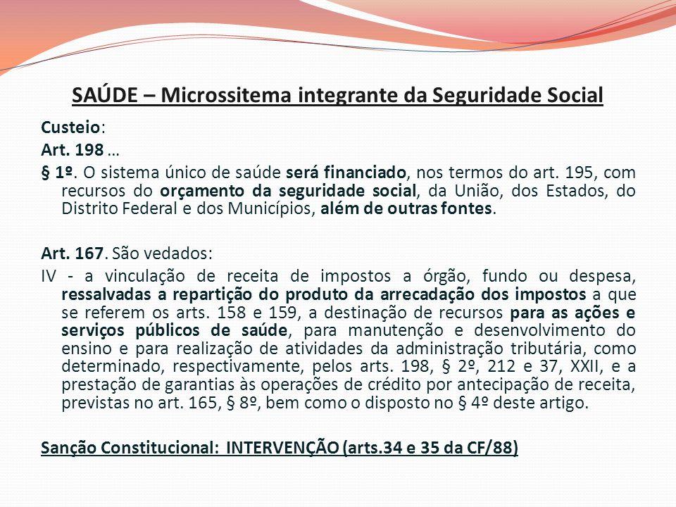 SAÚDE – Microssitema integrante da Seguridade Social