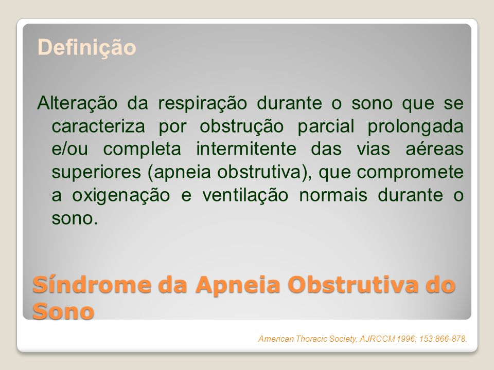 Síndrome da Apneia Obstrutiva do Sono