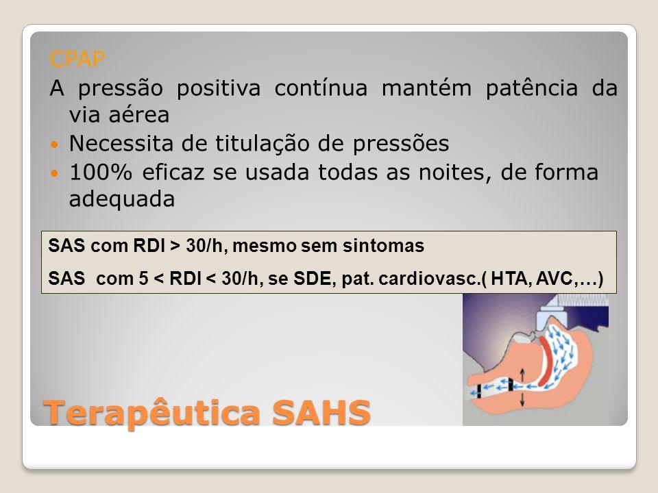 CPAP A pressão positiva contínua mantém patência da via aérea. Necessita de titulação de pressões.