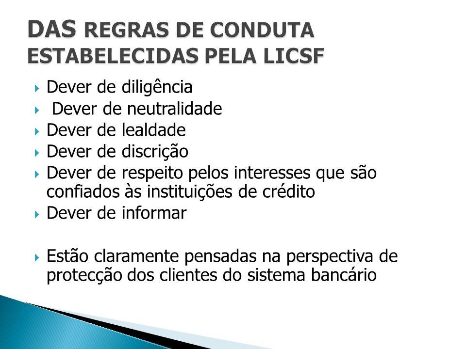 DAS REGRAS DE CONDUTA ESTABELECIDAS PELA LICSF