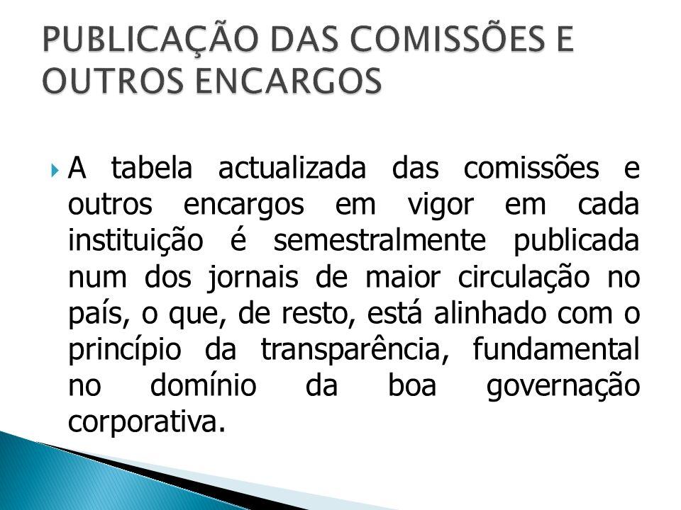 PUBLICAÇÃO DAS COMISSÕES E OUTROS ENCARGOS
