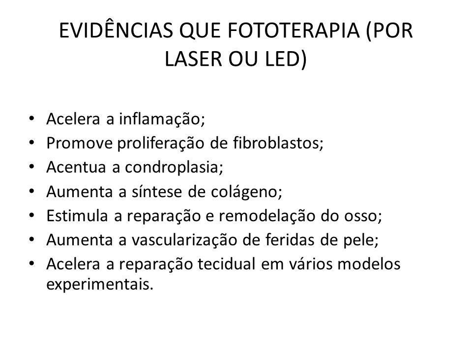 EVIDÊNCIAS QUE FOTOTERAPIA (POR LASER OU LED)