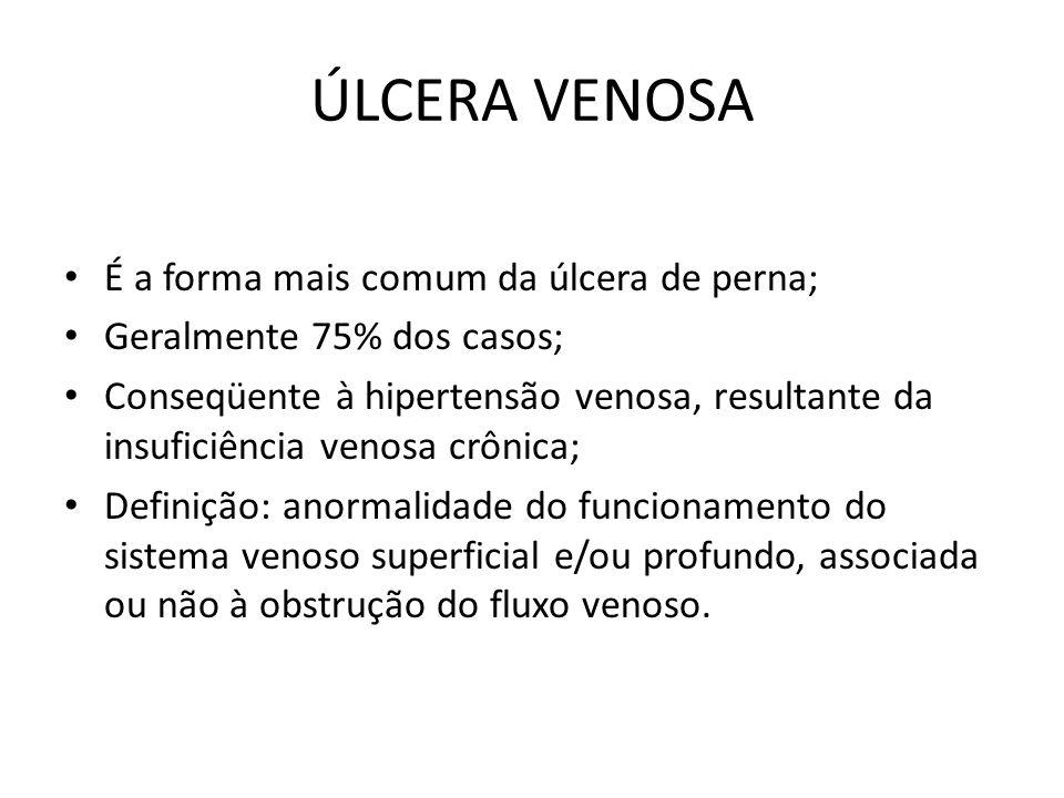 ÚLCERA VENOSA É a forma mais comum da úlcera de perna;