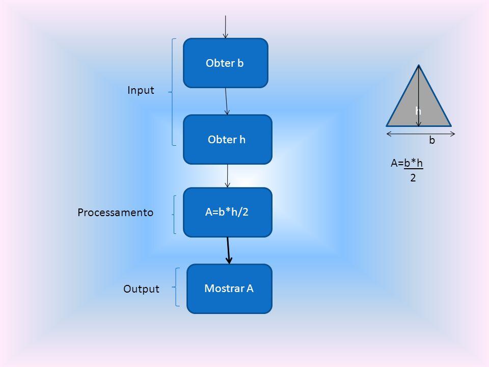 Obter b h Input Obter h b A=b*h 2 A=b*h/2 Processamento Mostrar A Output