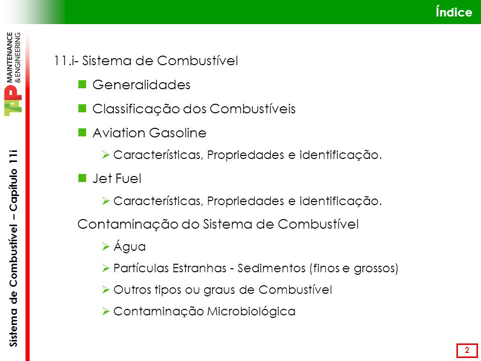 11.i- Sistema de Combustível Generalidades