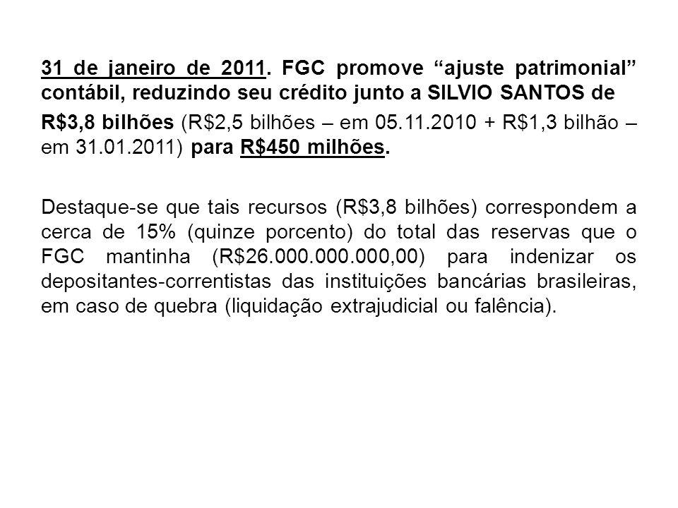31 de janeiro de 2011. FGC promove ajuste patrimonial contábil, reduzindo seu crédito junto a SILVIO SANTOS de