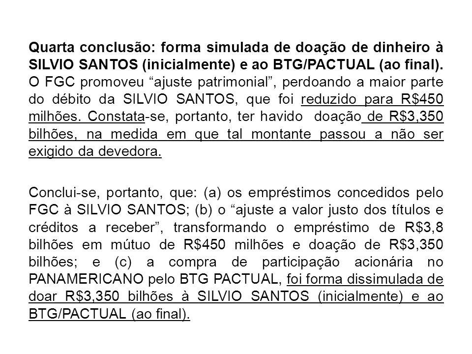 Quarta conclusão: forma simulada de doação de dinheiro à SILVIO SANTOS (inicialmente) e ao BTG/PACTUAL (ao final).