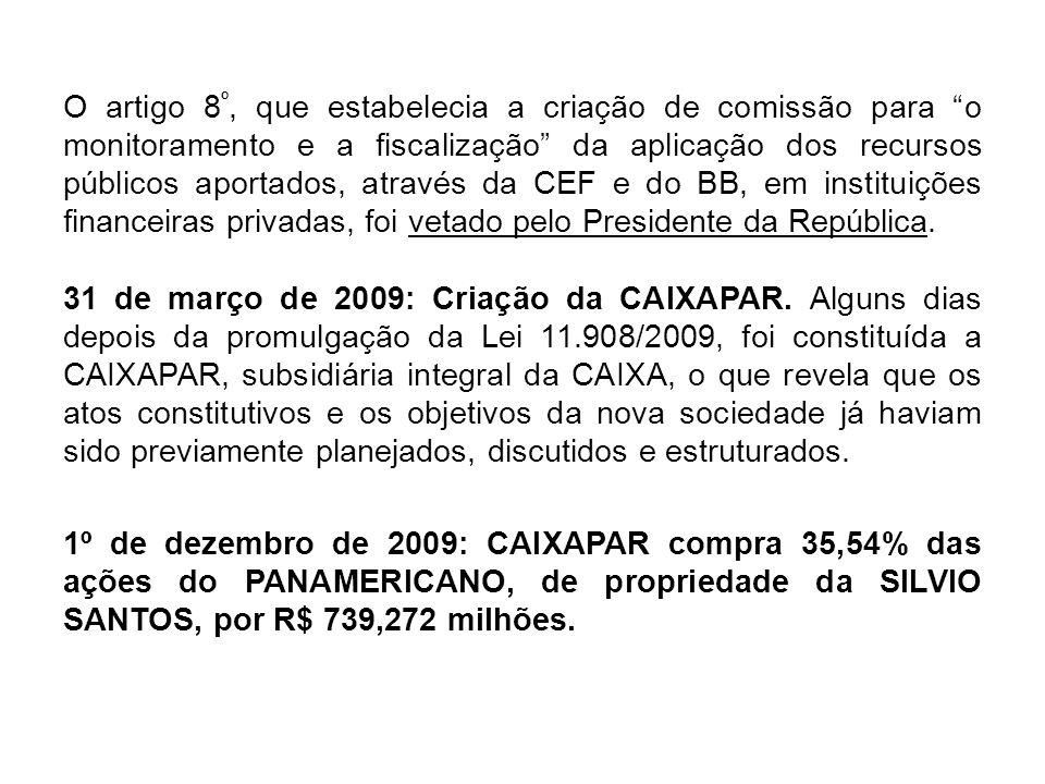 O artigo 8º, que estabelecia a criação de comissão para o monitoramento e a fiscalização da aplicação dos recursos públicos aportados, através da CEF e do BB, em instituições financeiras privadas, foi vetado pelo Presidente da República.