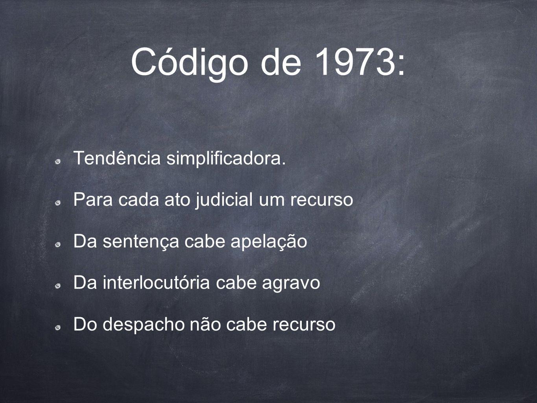 Código de 1973: Tendência simplificadora.