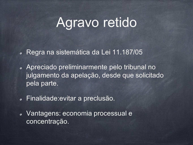 Agravo retido Regra na sistemática da Lei 11.187/05