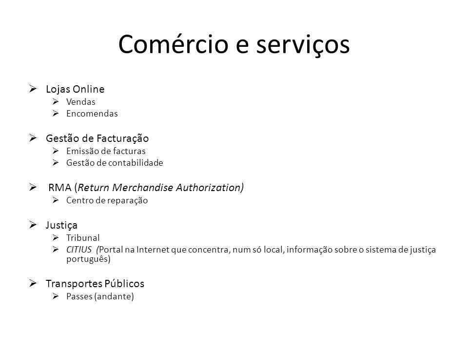 Comércio e serviços Lojas Online Gestão de Facturação