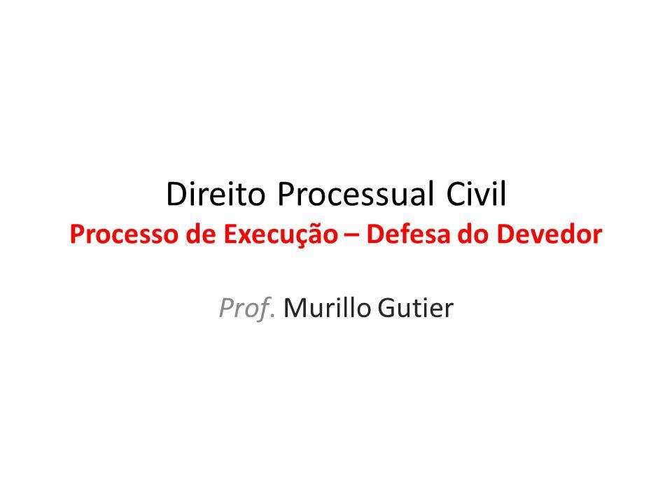 Direito Processual Civil Processo de Execução – Defesa do Devedor