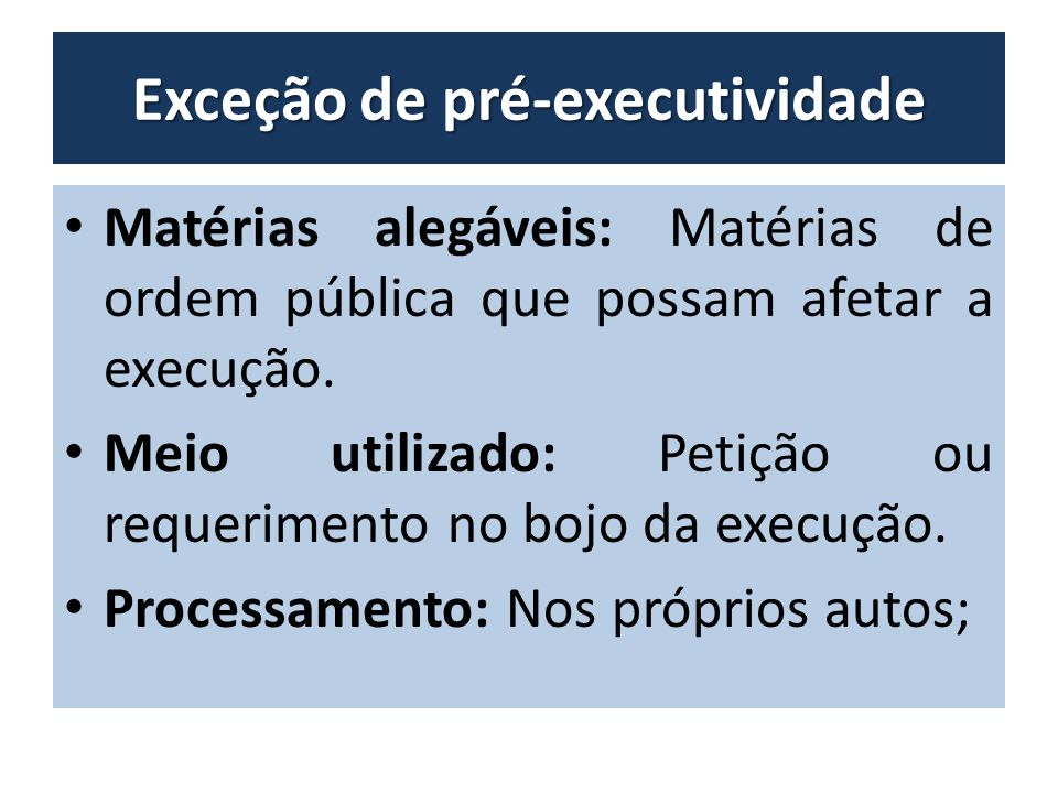 Exceção de pré-executividade