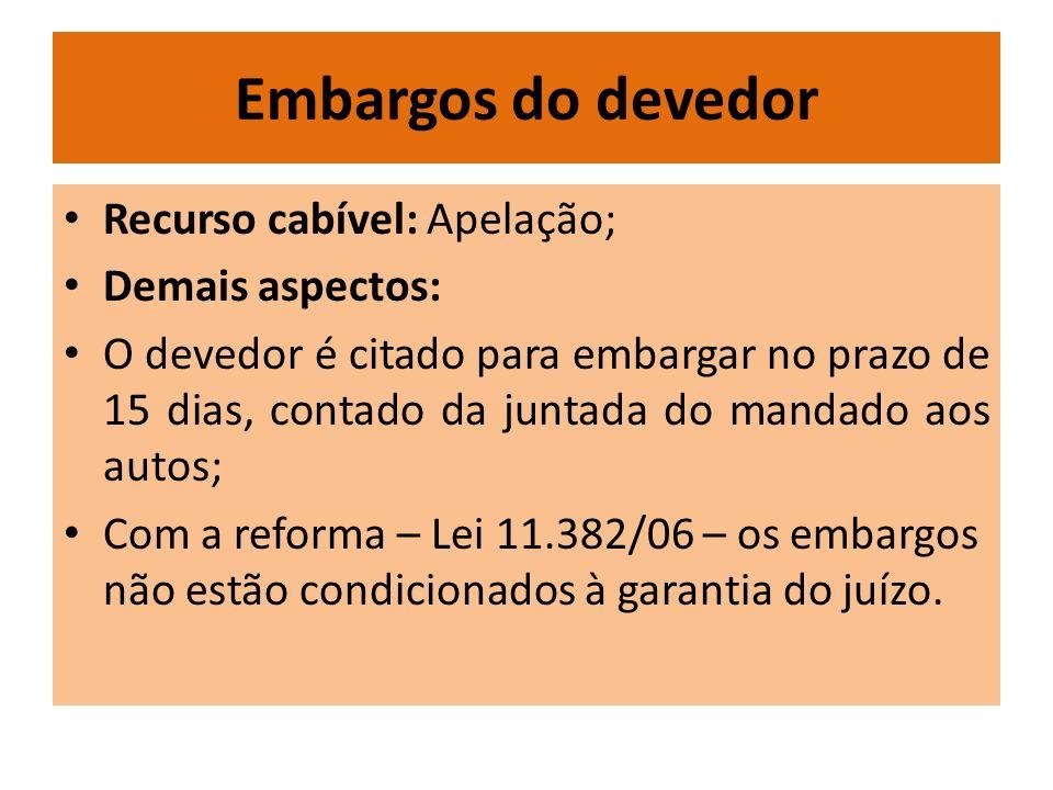 Embargos do devedor Recurso cabível: Apelação; Demais aspectos: