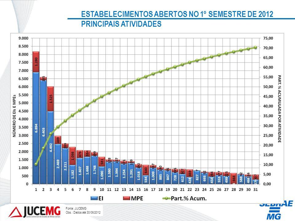 ESTABELECIMENTOS ABERTOS NO 1º SEMESTRE DE 2012 PRINCIPAIS ATIVIDADES
